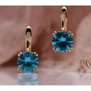 Earrings Turquoise Blue CZ 585 Rose Gold Plated